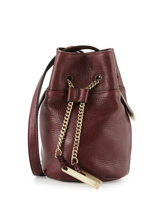 Chain Handle Leather Mini Bucket Bag, Syrah