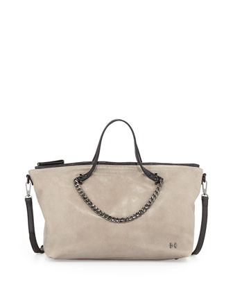 Chain-Handle East-West Satchel Bag, Heather Gray/Black