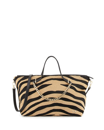 Chain-Handle Mixed Animal-Print Calf Hair Tote, Black Multi