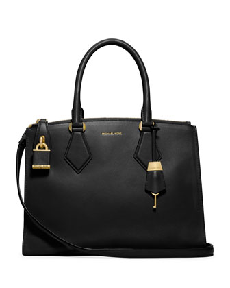 Casey Large Satchel Bag, Black