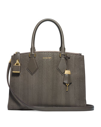 Large Casey Sueded Snake Satchel