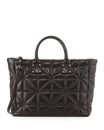 Avery Quilted Lambskin Tote Bag, Black