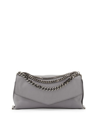 Collins Chain Leather Clutch Bag, Charcoal