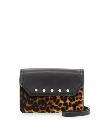 Logan Leopard-Print Calf Hair Mini Crossbody Bag, Black