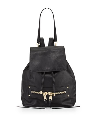 Riley Goatskin Leather Backpack, Black