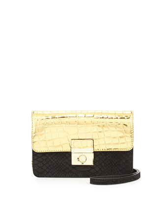 Sienna Embossed Suede Mini Crossbody Bag, Gold/Black