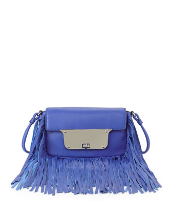 Isabella Fringe Crossbody Bag, French Blue