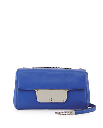 Isabella Leather Shoulder Bag, French Blue