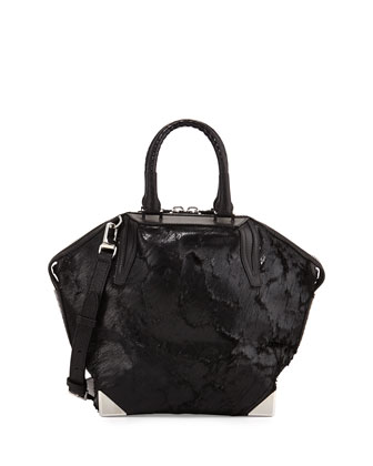 Prisma Coated Calf Hair Small Emile Satchel Bag, Black