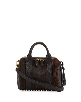 Rockie Small Spotted Calf Hair Crossbody Satchel, Leopard Haze