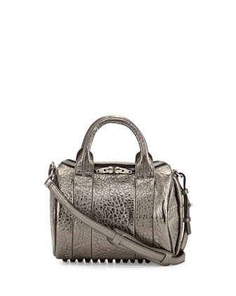 Rockie Metallic Crossbody Satchel Bag, Silver
