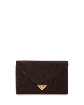 Prisma Spotted Calf Hair Wallet Clutch, Leopard Haze
