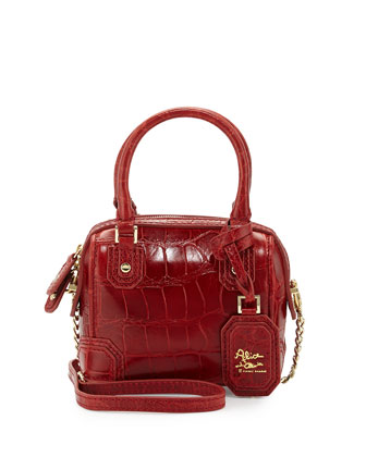 Olivia Mini Embossed Crossbody Bag, Cherry