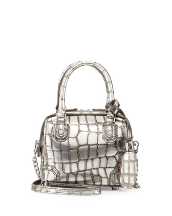 Olivia Croc-Embossed Mini Crossbody Bag, Antique Silver