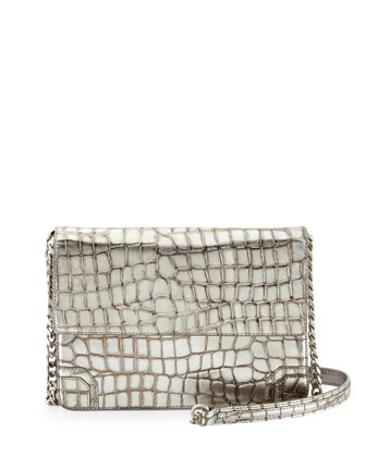 Mason Metallic Crocodile-Embossed Shoulder Bag