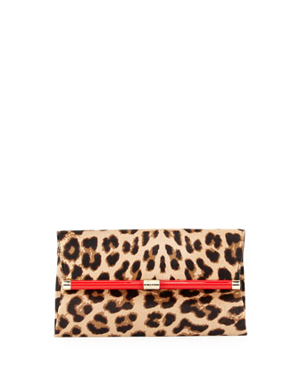 440 Calf Hair Envelope Clutch Bag, Leopard