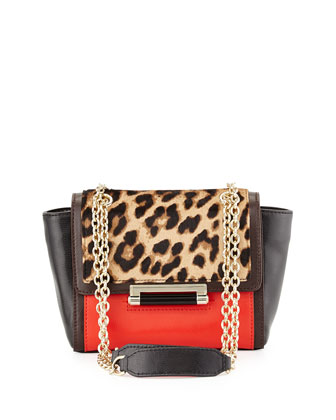 440 Mini Mixed-Media Crossbody Bag, Leopard/Paprika