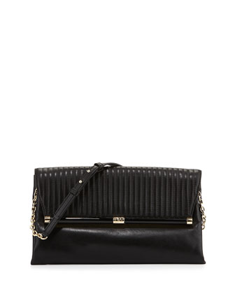 440 Large Envelope Rail Clutch Bag, Black