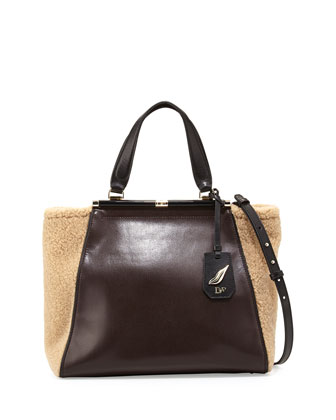 440 Runaway Leather Tote Bag, Mahogany/Natural