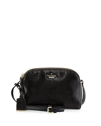 cedar street double-zip patent crossbody bag, black