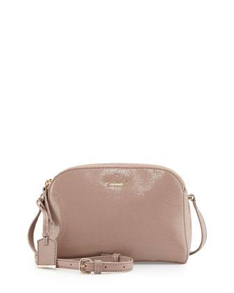 cedar street double-zip patent crossbody bag, rosewater