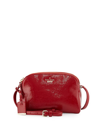 cedar street double-zip patent crossbody bag, dynasty red