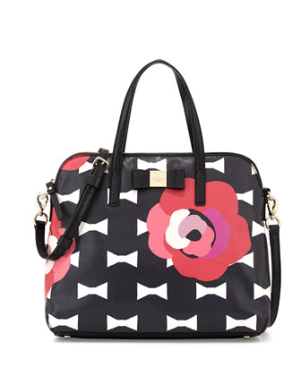 bloom drive margot printed satchel bag, black multi