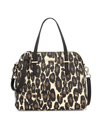 cedar street maise leopard-print satchel bag, deco beige