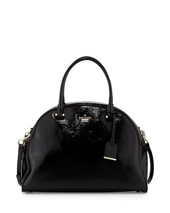 cedar street pearl domed satchel bag, black