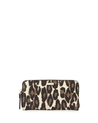 cedar street leopard-print lacey zip wallet