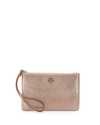 glitter bug wristlet clutch bag, rose gold