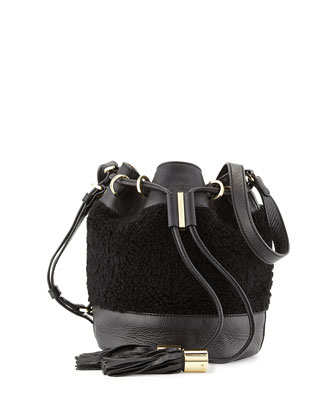 Vicki Small Shearling Bucket Bag, Bamboo