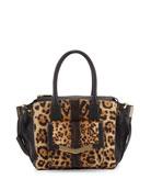 Jo Mini Calf Hair Tote Bag, Leopard-Print