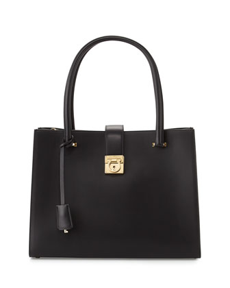 Marlene Gancini-Lock Tote Bag, Nero