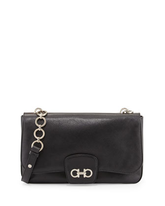 Bree Saffiano Gancini Shoulder Bag, Nero