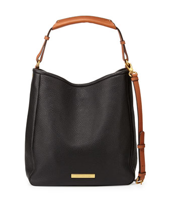 Softy Leather Saddle Hobo Bag, Black