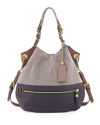 Sydney Suede Tote Bag, Dove Multi