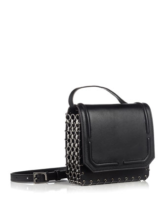 Lypton Chain-Detail Crossbody Bag, Black