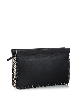 Lenox Chain-Trim Clutch Bag, Black