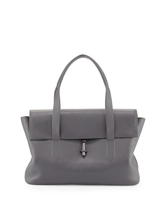 Jack Leather Satchel Bag, Steel Gray