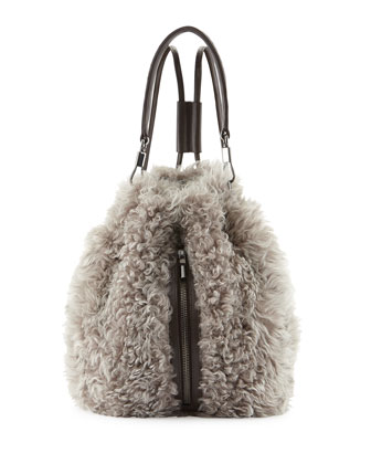 Cynnie Lamb Fur Drawstring Backpack