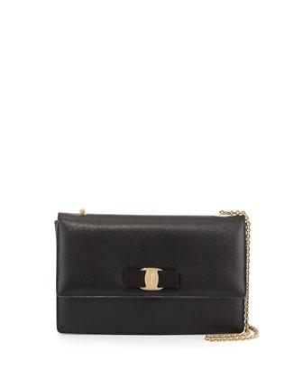 Ginny Saffiano Shoulder Bag, Nero