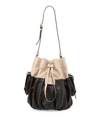 Gather Round Drawstring Leather Bucket Bag, Black Multi