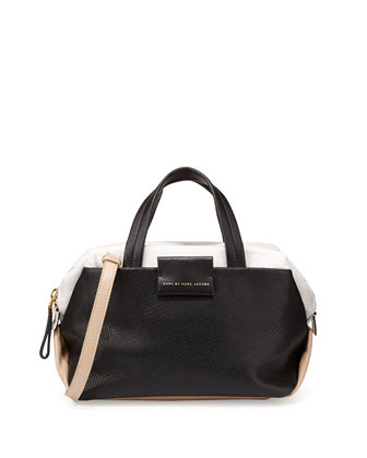 Colorblock Leather Box Satchel Bag, Black Multi