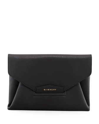 Antigona Sugar Envelope Clutch Bag, Black