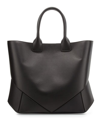Easy Medium Leather Tote Bag, Black