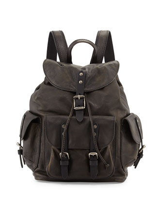 Veronica Leather Backpack, Black