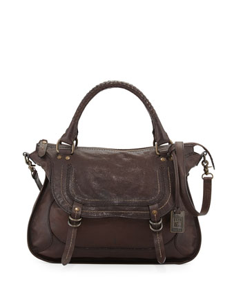 Anna Hammered Leather Satchel Bag, Dark Brown