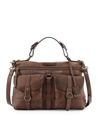 Josie Leather Satchel Bag, Dark Brown