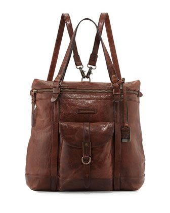 Josie Leather Backpack Tote Bag, Dark Brown